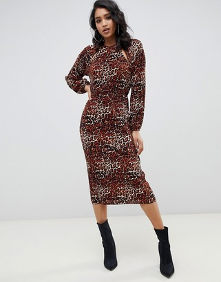 Asos DESIGN plisse midi dress with cut outs in leopard print