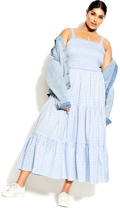 City Chic Gingham Maxi Dress - sky blue