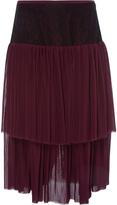 Prabal Gurung Tiered Pleat Midi Skirt