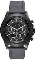 Armani Exchange Grey Chronograph Dial Grey Leather Strap Mens Watch