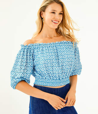 Lilly Pulitzer Leigh Off-The-Shoulder Crop Top