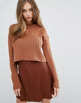 Missguided Distressed Cropped Sweater