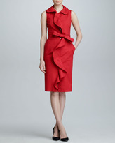 Carolina Herrera Sleeveless Ruffle-Front Dress, Mercury Red