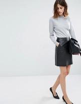 Warehouse Croc Leather Look Mini Skirt