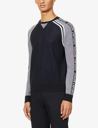 Emporio Armani Brand-intarsia colour-block wool-blend jumper