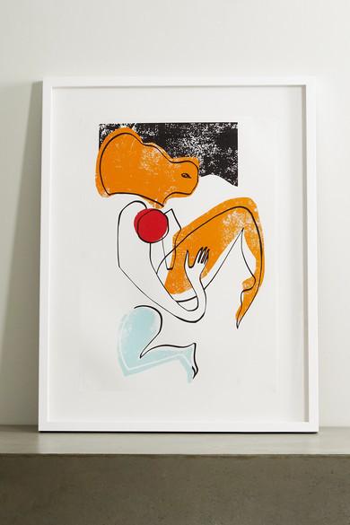 """Roksanda Amber Swimmer Framed Print, 23"""" X 33"""" - Brown"""