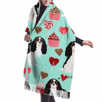 Beauty Design Womens Large Soft Cashmere Scarf Shawl Elegant Comfortable Winter Scarf Warm Wraps Shawls - Cavalier King Charles Spaniel Tricolored Valentines Cupcakes Love Hearts Dog Breed Turquoise