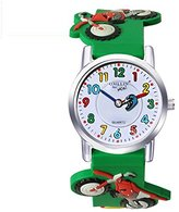 Jewtme Kids' JW0042 Motorcycle Pattern Silicone Strap Cartoon Watch Green