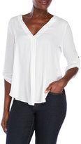 Lush Three-Quarter Sleeve Woven Blouse