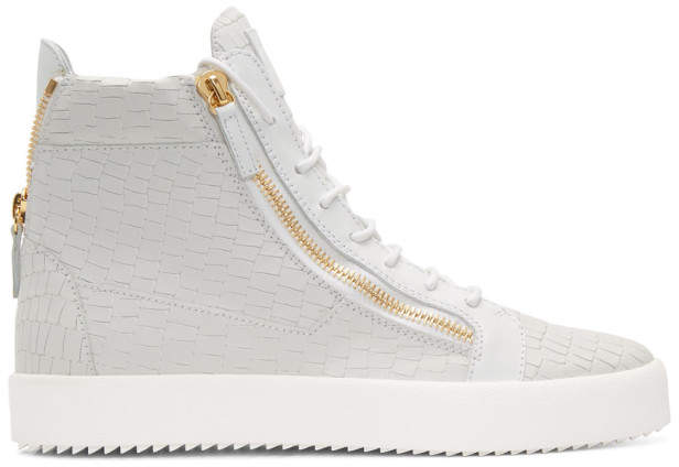 Giuseppe Zanotti White Croc London High-Top Sneakers