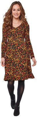 Joe Browns Floral Knee-Length Dress with Long Sleeves and V-Neck