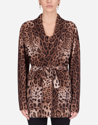 Dolce & Gabbana Oversize Wool Cardigan With Leopard Print