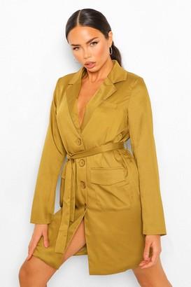 boohoo Belted Blazer Dress With Shoulder Pads