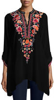 Johnny Was Sable Long-Sleeve Embroidered Tunic, Petite