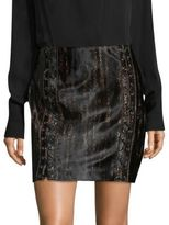 Elie Tahari Abienne Lace-Up Leopard-Print Calf Hair Skirt