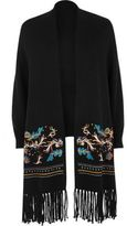 River Island Womens Black knitted embroidered cardigan with scarf