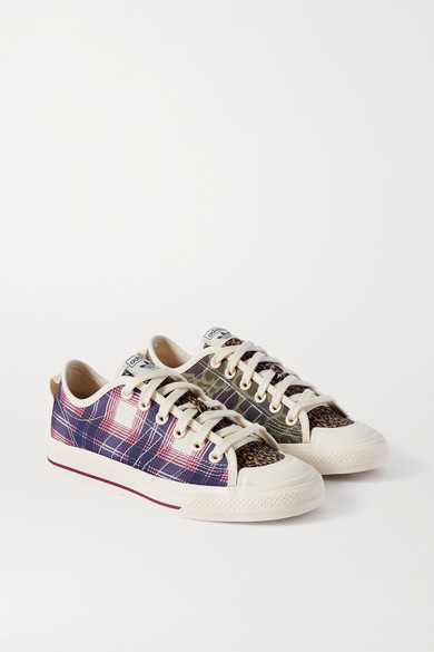 adidas Nizza Rf Paneled Printed Canvas Sneakers - Off-white