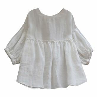 Cocila Women's Round Neck Linen Half Lantern Sleeve Shirt Ruffle Solid Blouse Loose Plus Size Elastic Tops(3XL