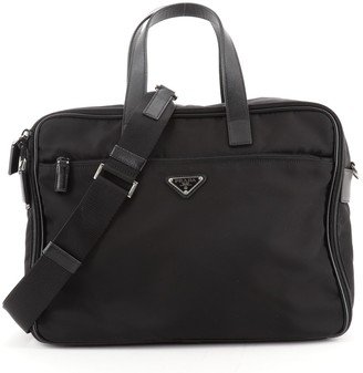 Prada Convertible Front Zip Briefcase Tessuto with Saffiano Leather Large