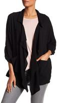 Bobeau Drape Front Woven Jacket