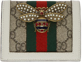 Gucci White and Beige GG Supreme Queen Margaret Bifold Wallet