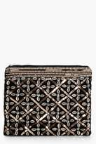 boohoo Josie Sequin Embellished Zip Top Clutch