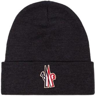 Moncler logo patch beanie hat