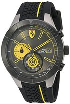 Ferrari Men's Quartz Stainless Steel and Silicone Casual Watch, Color:Black (Model: 830342)