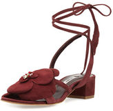Olgana Paris Dahlia Suede Ankle-Wrap Sandal