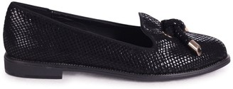 Linzi CLARICE - Black Lizard Loafer With Front Knot Detail And Studded Trim