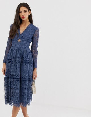 Asos Design DESIGN lace long sleeve prom dress with cut out-Blue