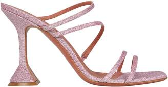 Amina Muaddi Naima Glitter Leather Sandals
