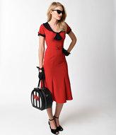 Stop Staring Red & Black Dot Sleeved Railene Wiggle Dress