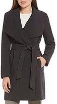 Lauren Ralph Lauren Crepe Belted Drape Front Coat
