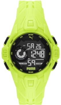 Puma Men's Bold Yellow Silicone Strap Watch 45mm