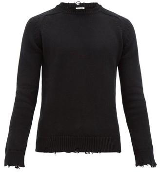 Saint Laurent Distressed Cotton Sweater - Mens - Black
