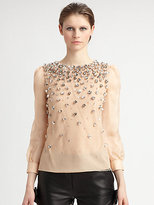 RED Valentino Embellished/Point D'Espirit Blouse