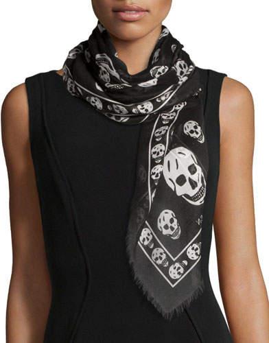 Alexander McQueen Skull Print Fringe-Edge Scarf, Black/White