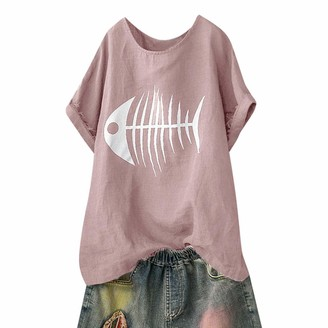 Lazzboy Women T-Shirt Top Fish Bone/Cactus Print Plus Size Fashion Plain Loose Ladies Oversized Blouse(10