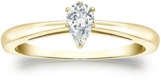 Auriya 14k Gold 1/3ctw Pear Shape Solitaire Diamond Engagement Ring