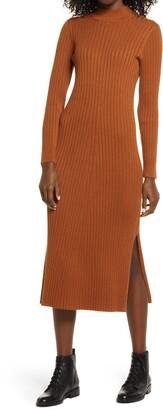 Charles Henry Long Sleeve Mock Neck Sweater Dress