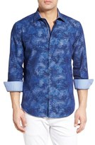 Bugatchi Classic Fit Floral Chambray Sport Shirt