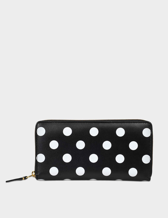 Comme des Garcons Dots Printed Leather linene zip around wallet