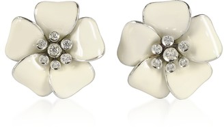 Rosato Sterling Silver and White Enamel Daisy Earrings