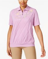 Alfred Dunner Floral-Embroidered Polo Top
