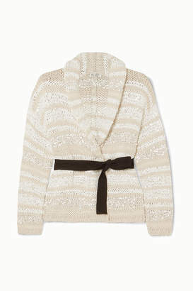 Brunello Cucinelli Sequin-embellished Striped Cotton-blend Cardigan - Cream