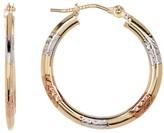 10K Tricolor Gold Shiny Diamond-Cut Hoop Earrings