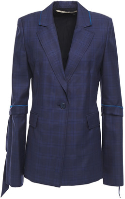 Roland Mouret Wollaston Tie-detailed Checked Wool And Silk-blend Blazer