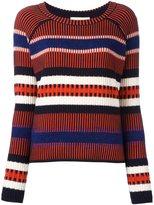 Tory Burch striped contrast knit sweater - women - Cotton/Acrylic/Polyamide/Alpaca - M