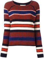 Tory Burch striped contrast knit sweater - women - Cotton/Acrylic/Polyamide/Alpaca - S
